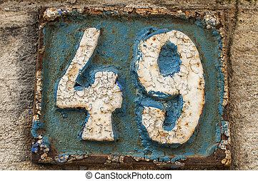 Old retro cast iron plate number 49 - Old retro weathered...