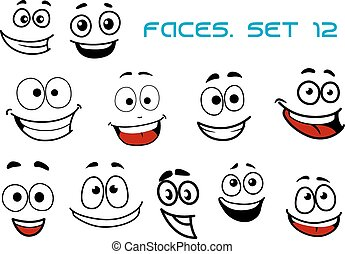 Emotions faces with happiness and fun - Emotions faces in...