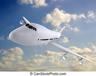 3d plane - 3d rendered illustration of a plane in the sky