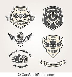 Grand prix racing motorclub emblems set isolated vector...
