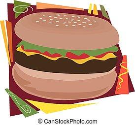 Hamburger - An illustration of a typical large hamburger or...