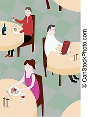 Restaurant tables - A view of tables in a restaurant with...