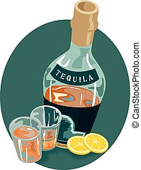 Tequila - An illustration of a bottle of tequila and glasses