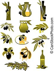 Olive oil bottles with branches and olives