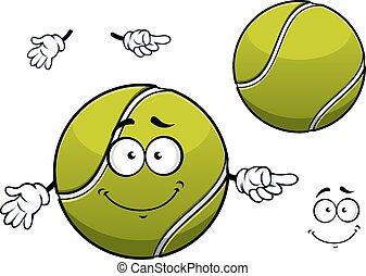 Cheerful green tennis ball cartoon character - Cheerful...