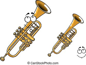 Shining brass trumpet cartoon character