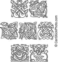Zwierzęta, i, Ptaszki, Z, celtycki, plemienny, ozdoba,