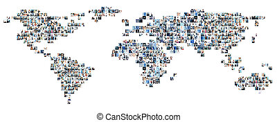 Collage of different business pictures collected as world...