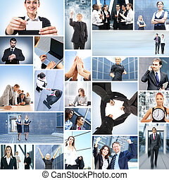 Collage with a lot of different business people working...