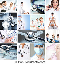 Collection of medical images with hospital workers, nurses...
