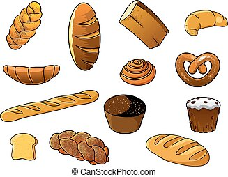 Cartoon different kinds of bread and pastries - Cartoon...