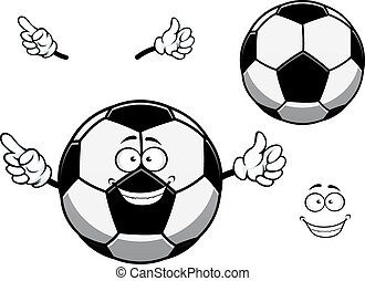 Football or soccer ball cartoon character or mascot