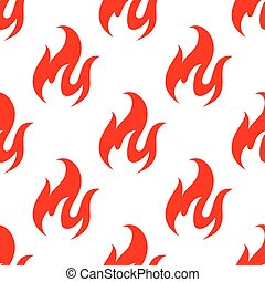 Red fire flames seamless pattern - Hot red swirls of fire...