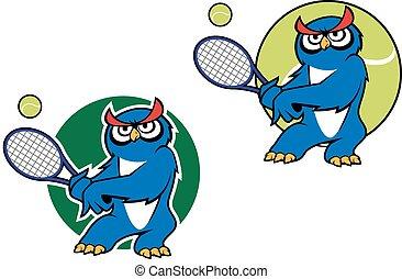 Cartoon owl mascot with racket - Cartoon blue owl character...