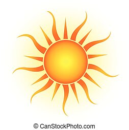 Vector yellow sun isolated on white background.