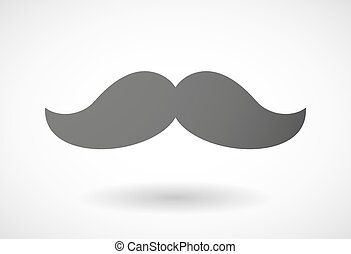 Grey moustache icon - Illustration of an isolated grey...