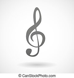 Grey g clef icon - Illustration of an isolated grey g clef...
