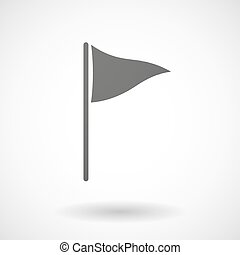 Grey golf flag - Illustration of an isolated grey golf flag