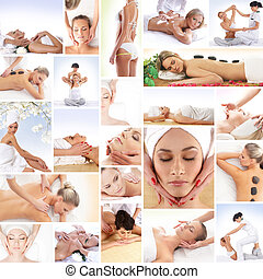 Sport, massaging, fitness collage