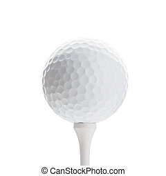 Golfball on white tee, isolated on white