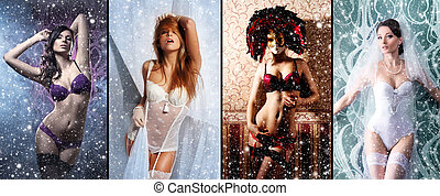 Christmas collage with some sexy girls in lingerie over...