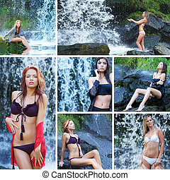 Young sexy women near the waterfall
