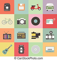 retro icon - set of classic icon, hipster gadget, vecter...