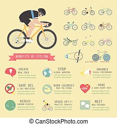 cyclist - benefits of cycling bicycle, infographic, flat...