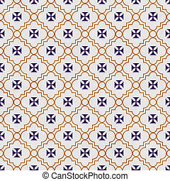 Purple and Gold Maltese Cross Symbol Tile Pattern Repeat...