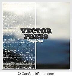 Vintage design vector press template. Summer time poster. Blurred mesh background
