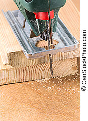 Wood cutting with electric fret-saw - Electric fretsaw tool...