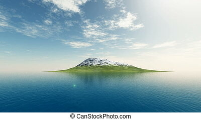 Aerial shot to mountain in ocean - Aerial shot to snow...