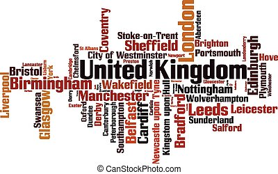 Cities in United Kingdom word cloud concept Vector...