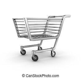 cesta, compras, aislado, vacío