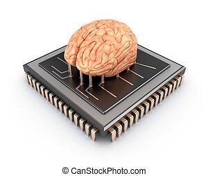 humano, cerebro, y, computadora, astilla, 3D, ,