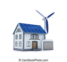 Eco house - 3D image. Isolated icon