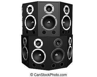 big speakers - 3d rendered illustration of isolated black...