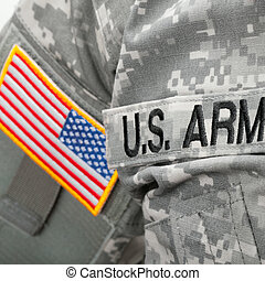 U.S. Army and flag patch on solder's uniform