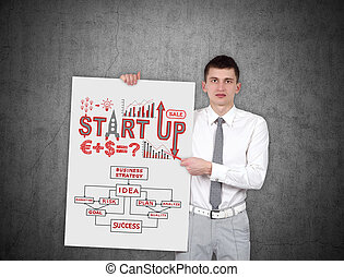 start up - businessman holding placard with start up scheme