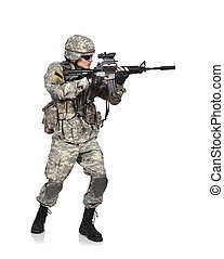 US soldier holding his assault rifle isolation on white