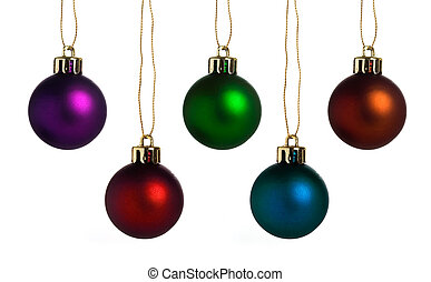Christmas baubles in different colors