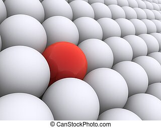 red sphere - 3d rendered illustration of white and red balls