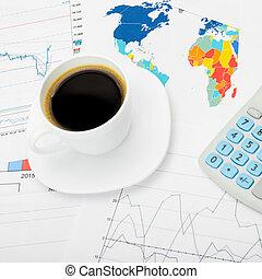 karta, kaffe, Skott, kopp,  över,  -, topplista, Uppe, värld, nära, räknemaskin, marknaden, block