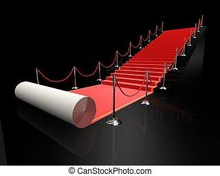 red carpet - 3d renderedillustration of a red carpet on...