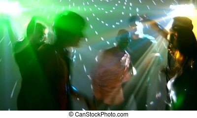 Party people dancing, catchy music, all very happy - Girl...