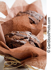Chocolate muffins - Delicious chocolate muffins with topping