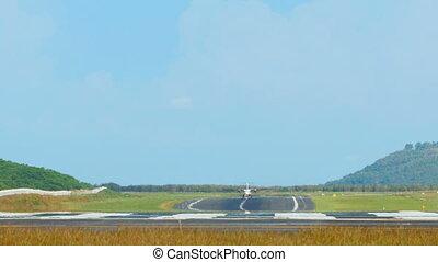 Take-off - ATR-42 Turboprop airplane takeoff, International...