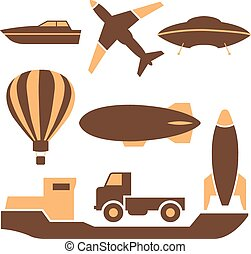 Transport icons, vector - Set of colored icons transport,...