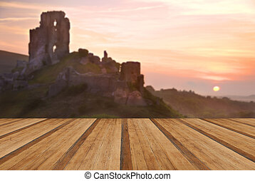 Romantic fantasy magical castle ruins against stunning...