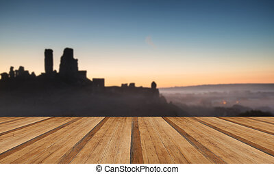 Medieval castle ruins with foggy landscape at sunrise with woode